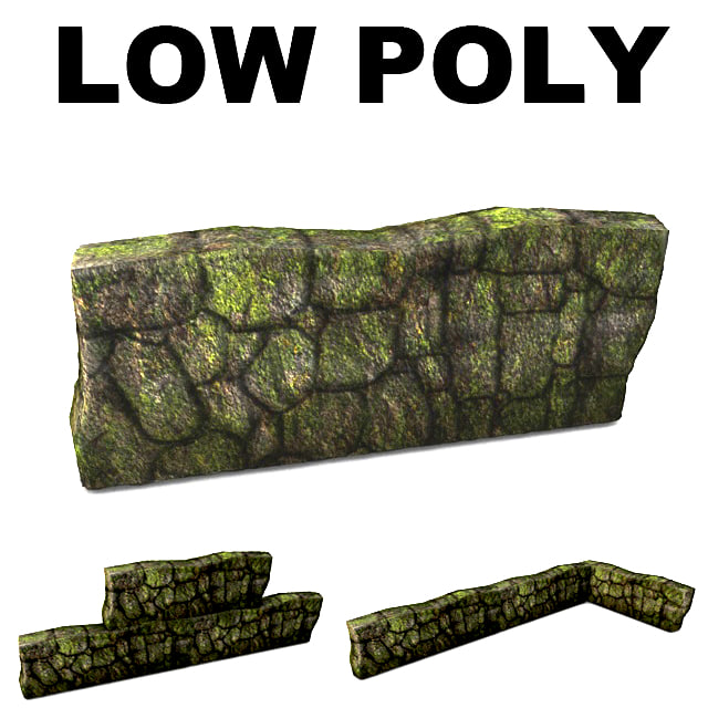 Low poly mossy wall