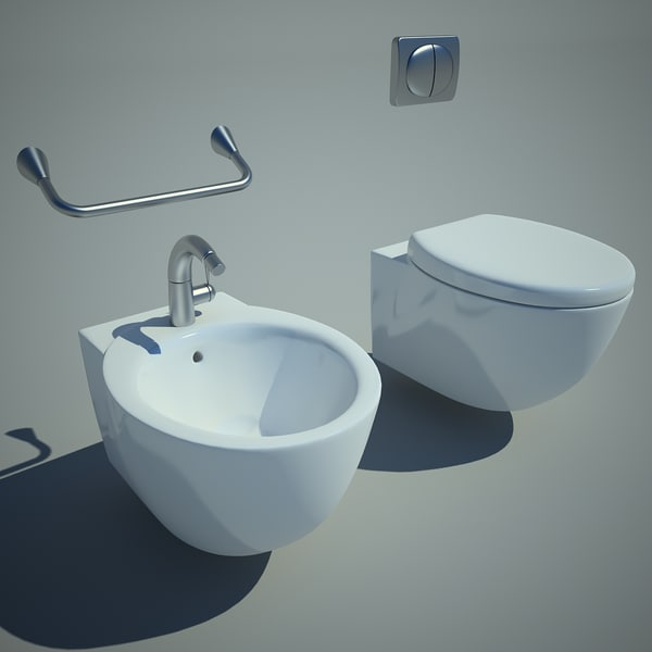 toilet bowl and bidet 3D Models