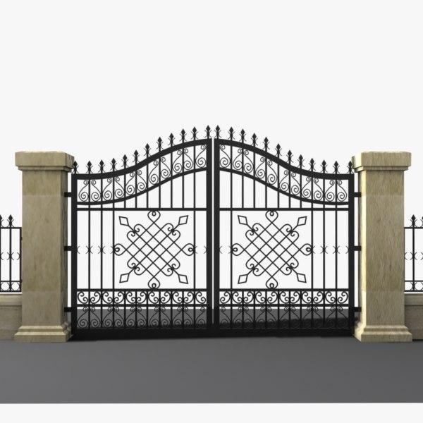 Entrance Gate 3d Model Wrought Iron Gate 3d Model