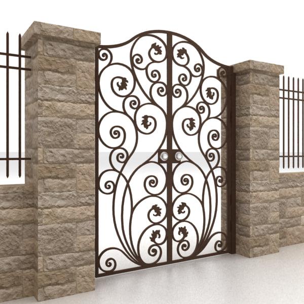 3d model metal gate fence