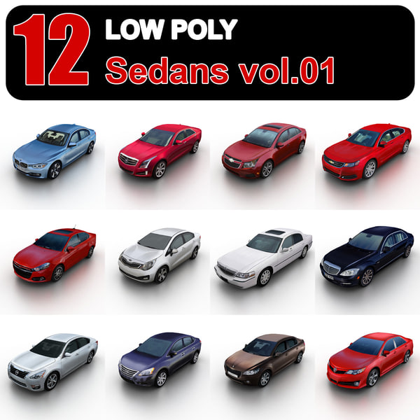 Low Poly Sedans vol.1 3D Models