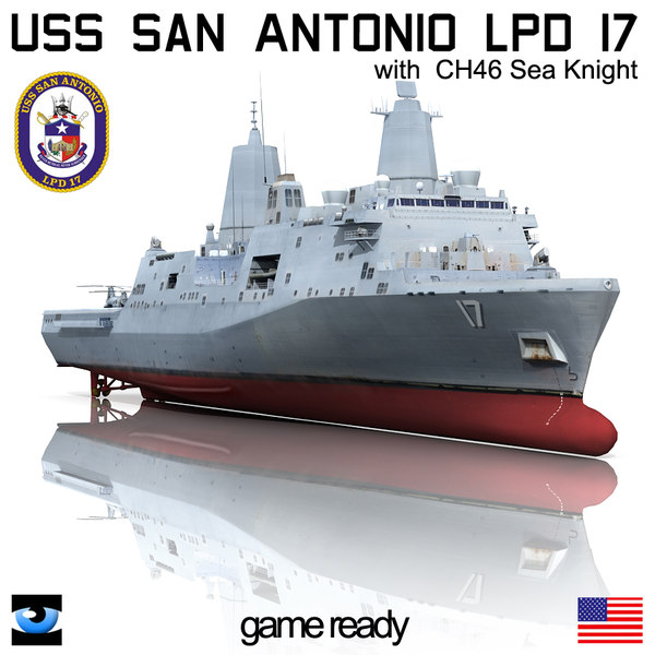 USS San Antonio LPD-17 with CH-46 Sea Knight 3D Models