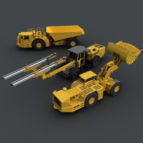 Underground Mining Vehicles Pack 3D Models