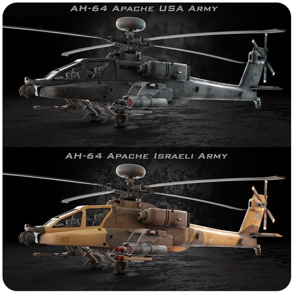 AH-64 Apache USA Israeli 3D Models
