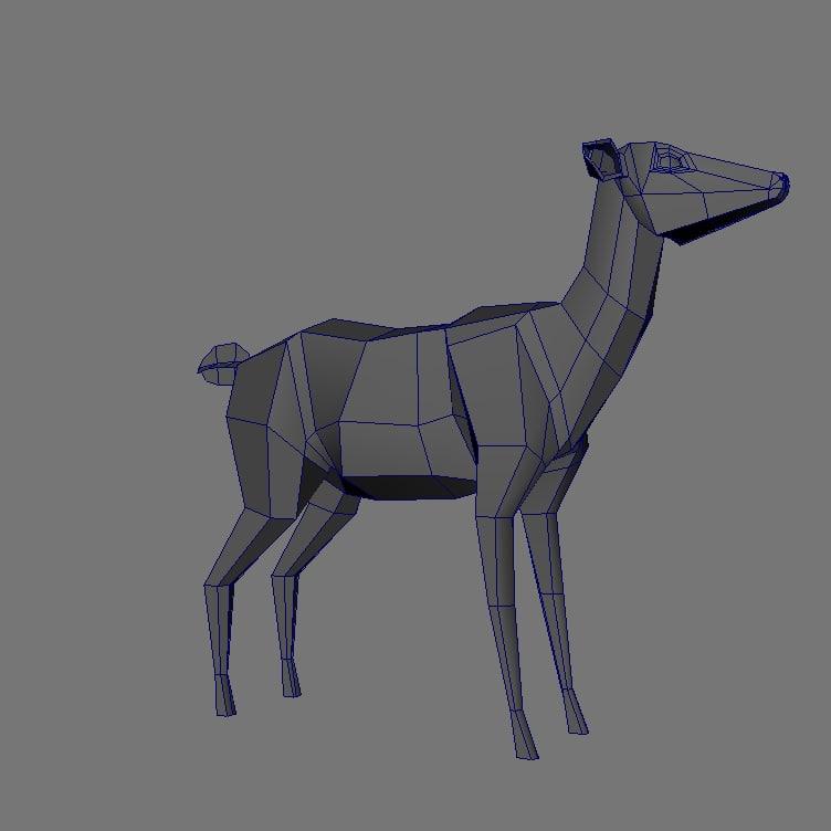 obj low res female deer
