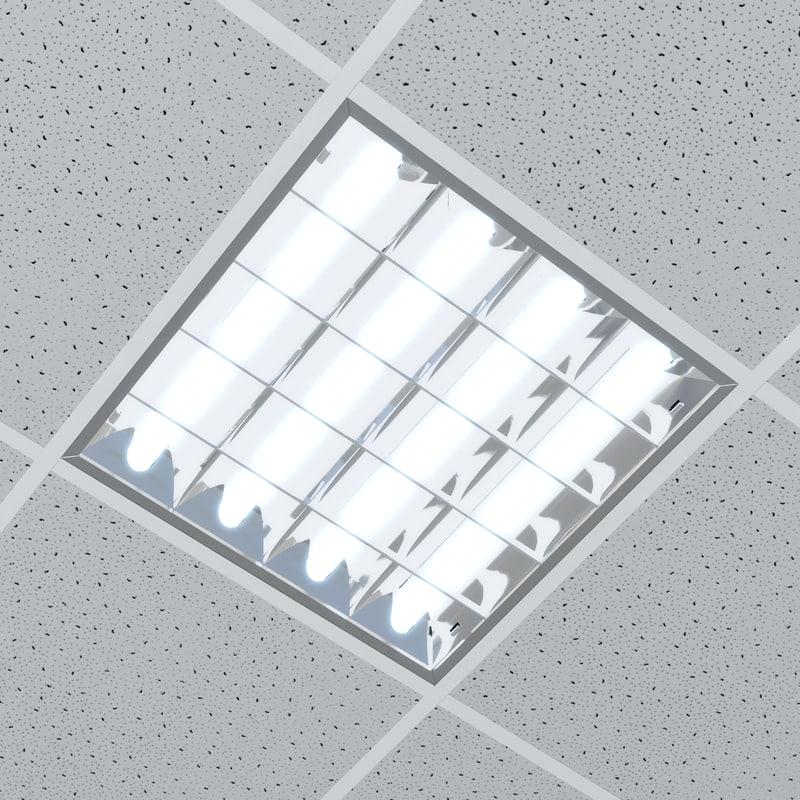 Office Ceiling Lamp Lighting 3d Model