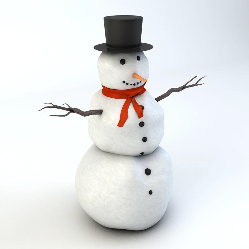 realistic snowman 3d 3ds