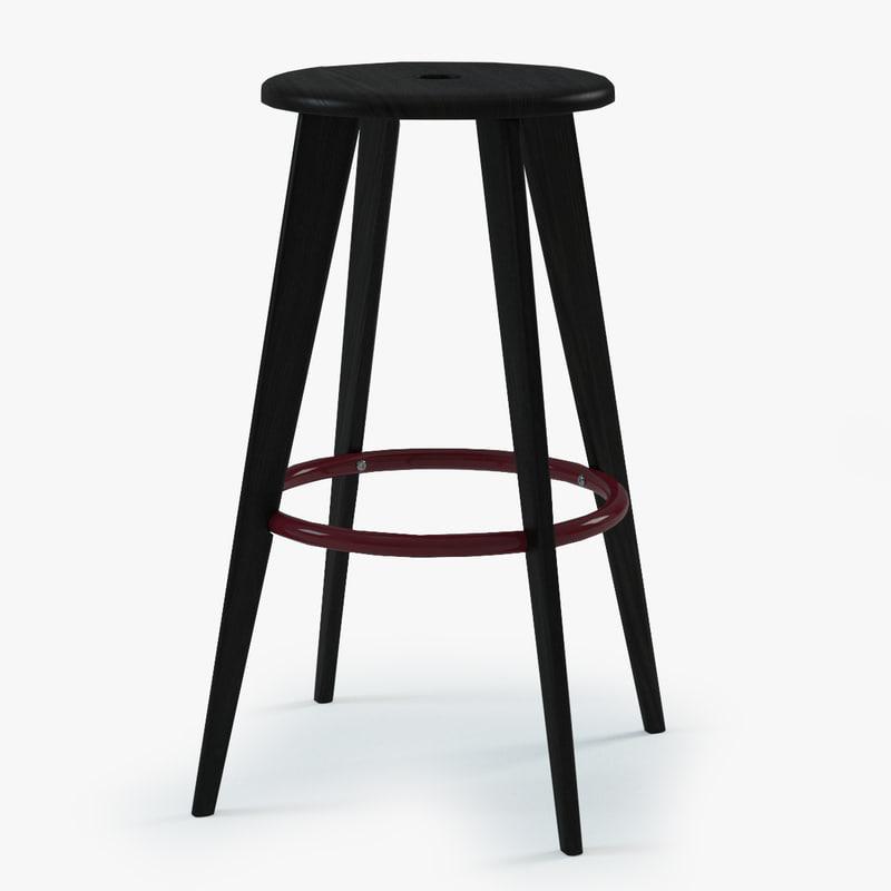 Prouve tabouret haut bar chair 3d 3ds - Tabouret jean prouve ...