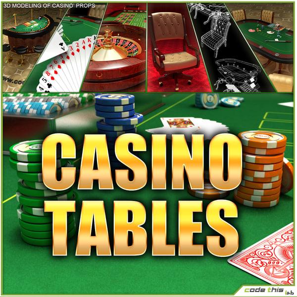 Casino Tables (Roulette Poker Blackjack) 3D Models