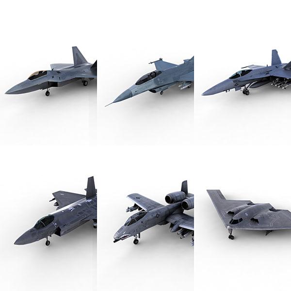 6 USAF Aircraft 3D Models