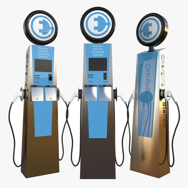 Electric Car Charging Station 3D Models