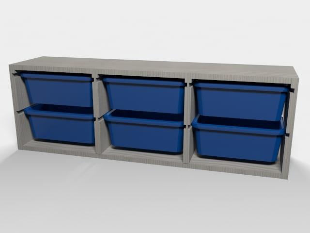 ikea shelf storage boxes 3d obj. Black Bedroom Furniture Sets. Home Design Ideas