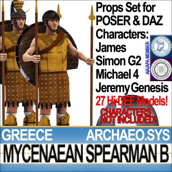 Props Set Poser Daz for Greek Mycenaean Spearman B