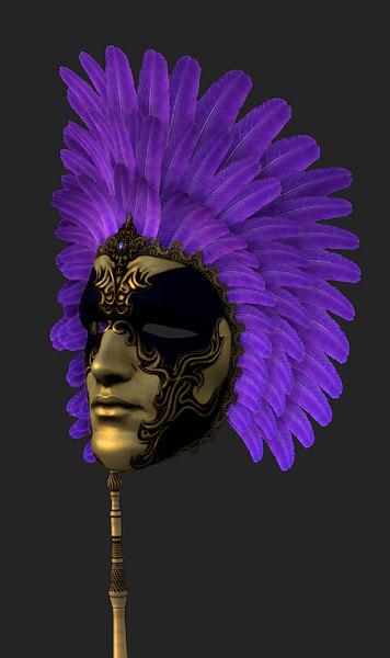 Venetian mask low poly 3D Models