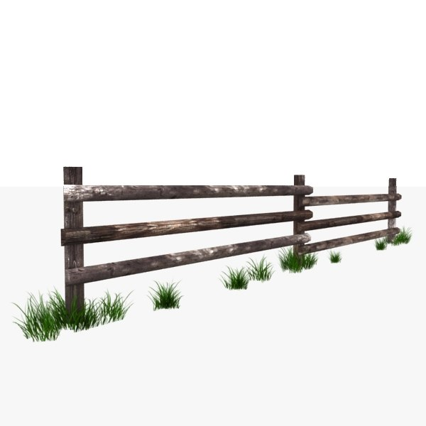 Wooden fence polys 3d model for 3d fence