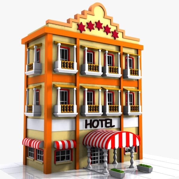 3d max cartoon hotel toon for Asino amiatino