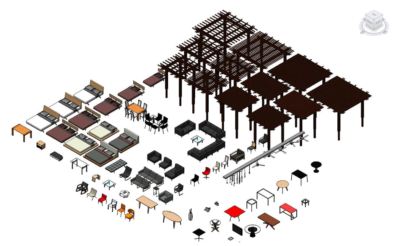 3d 3ds revit furniture pack for Outdoor furniture revit
