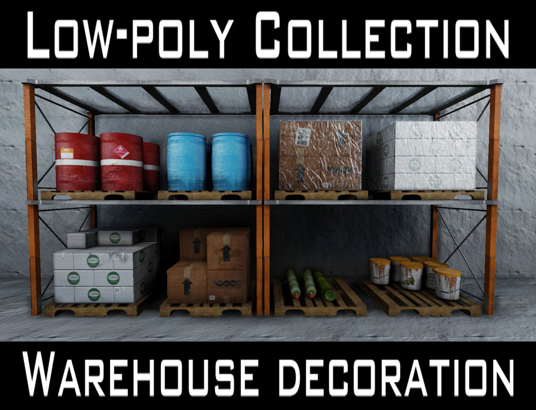 Low-poly warehouse decoration set