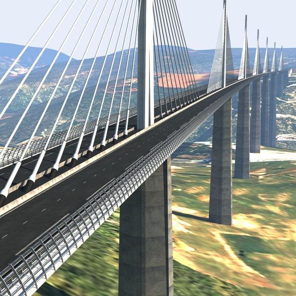 Millau Bridge Viaduct France 3D Models