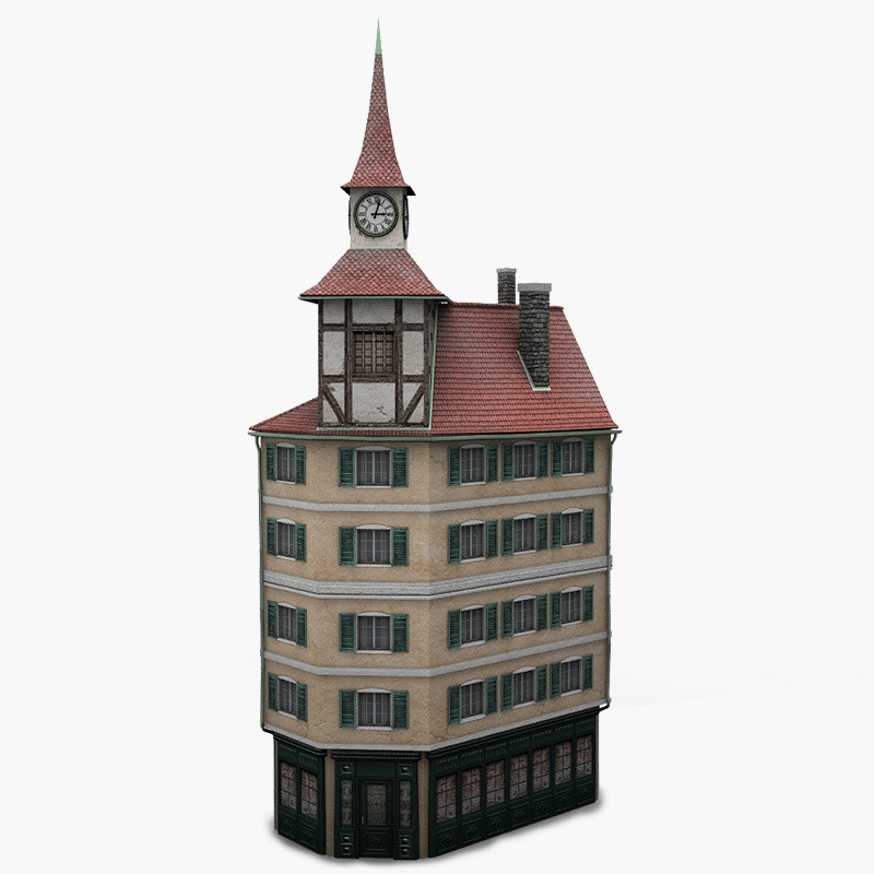 3d model low poly house facade