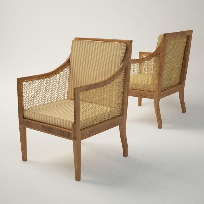 3ds max kaare klint bergere armchair furniture