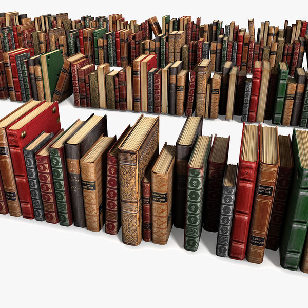 Old Luxurious Ancient Books Collection Set Vintage 3D Models