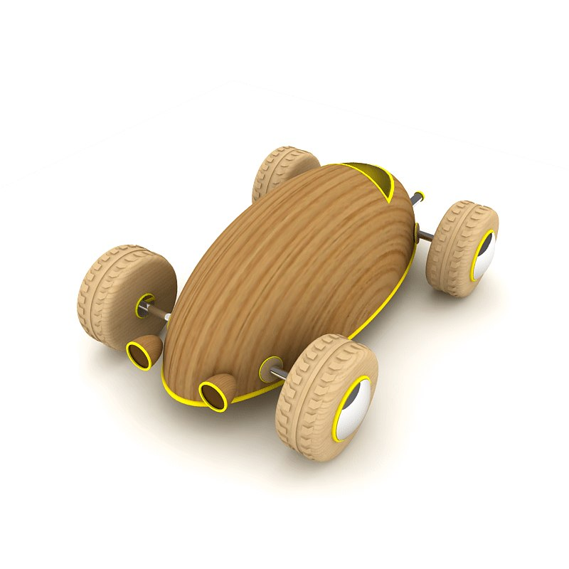 Yellow wooden toy car_2
