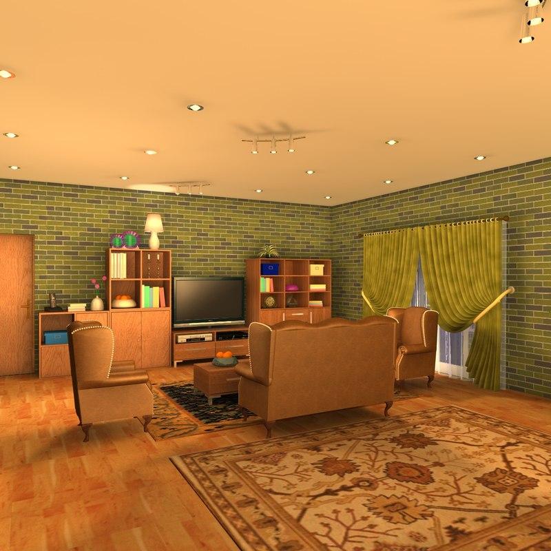 Living room night scene 3ds for Living room night