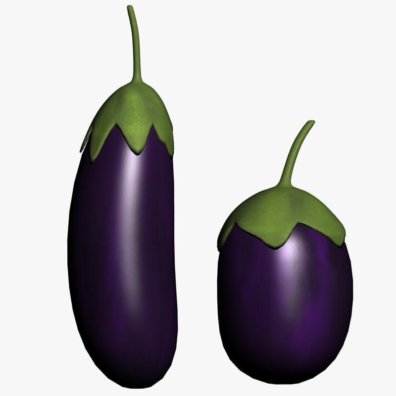 3d Eggplant Brinjal Vegetable Purple Food Vegetarian