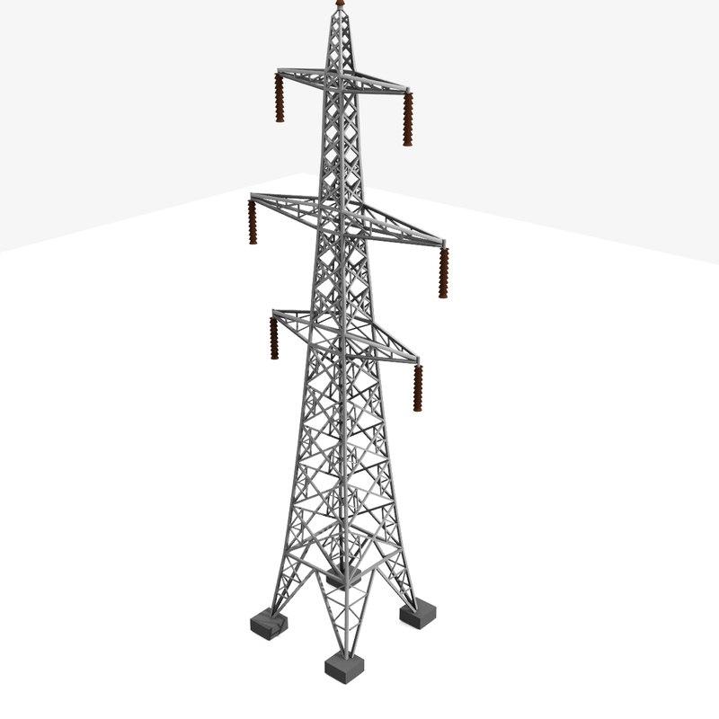 3d model tower electricity pylon uk