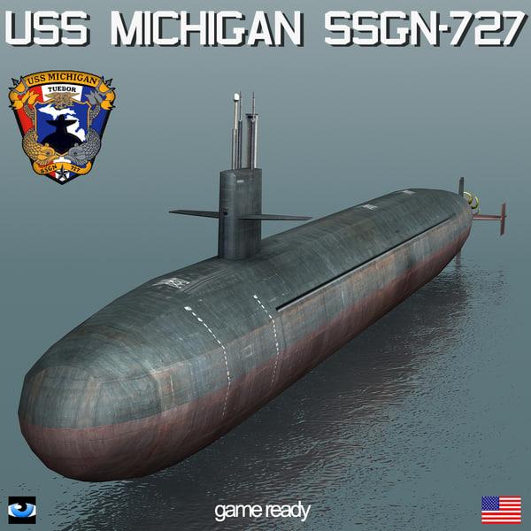 USS Michigan SSGN-727 3D Models