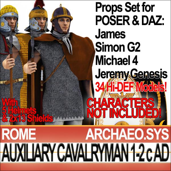 Props Set Poser Daz for Roman Auxiliary Cavalryman A