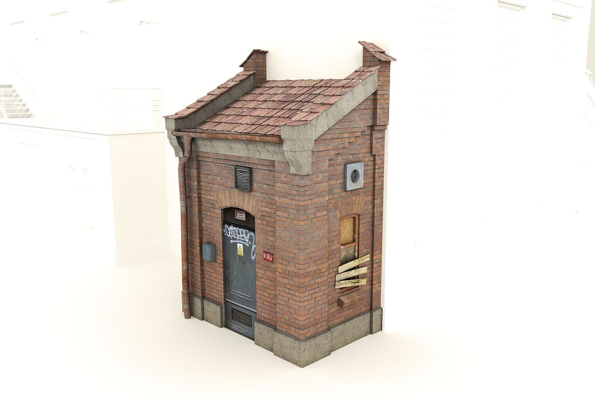 Old brick gatehouse - low poly building