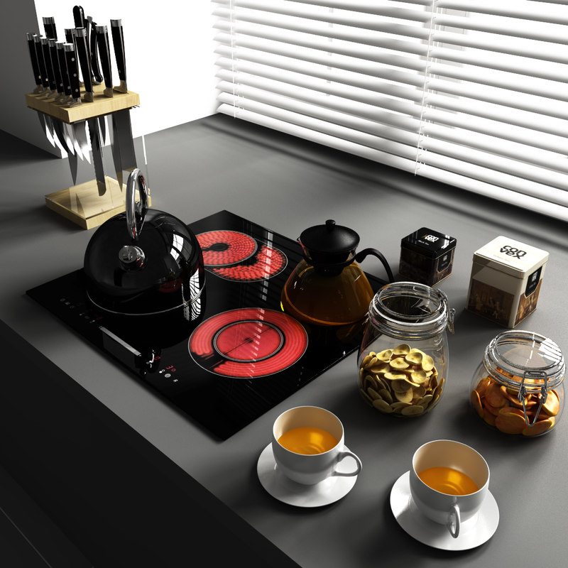 Set 9 decorate kitchen 3d model for Model model kitchen set