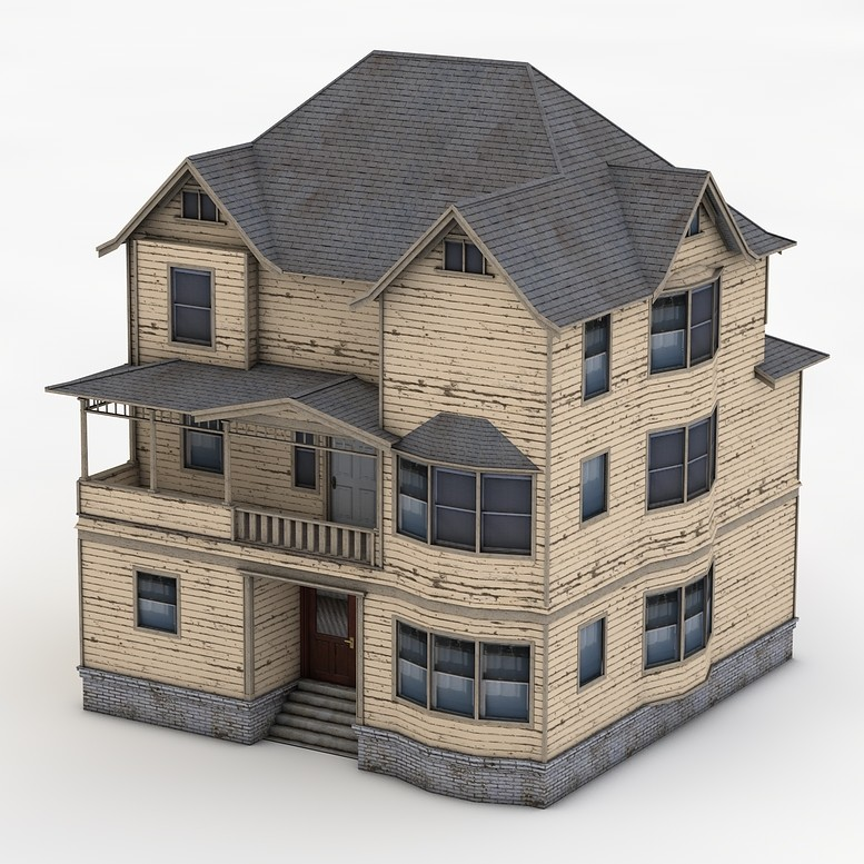 Old Victorian 3 Story House 3d Max