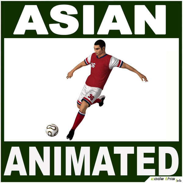 Asian Soccer Player CG 3D Models