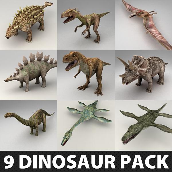 9 Lowpoly Dinosaur Rigged Models Pack 3D Models