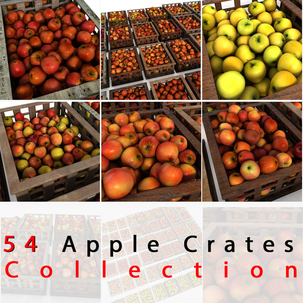 Apple Fruit Crates Cases Market Store Shop Convenience General Grocery Greengrocery Detail Prop Fair Plantation Jungle South Plant Garden Greenhouse Red Green Realistic Vray 3D Models