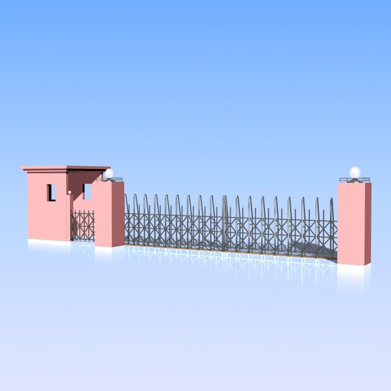 Entrance Gate 3d Model 3d Fence Gate Model