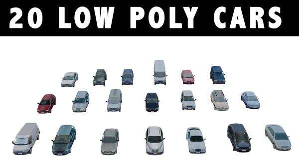 20 CARS LOW POLY 3D Models