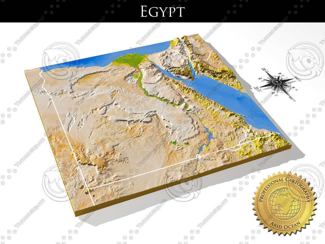 Searched D Models For Egypt House - Map of egypt 3d