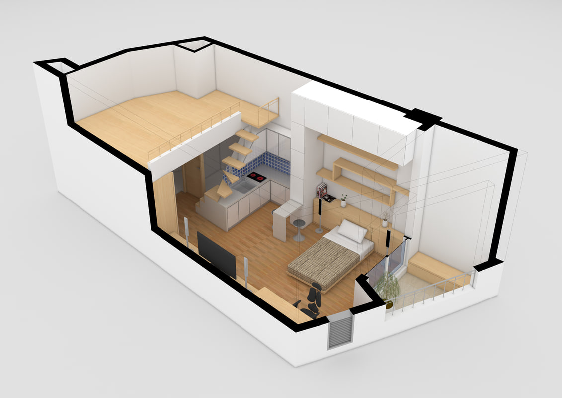 3d studio apartment model for Model studio apartments