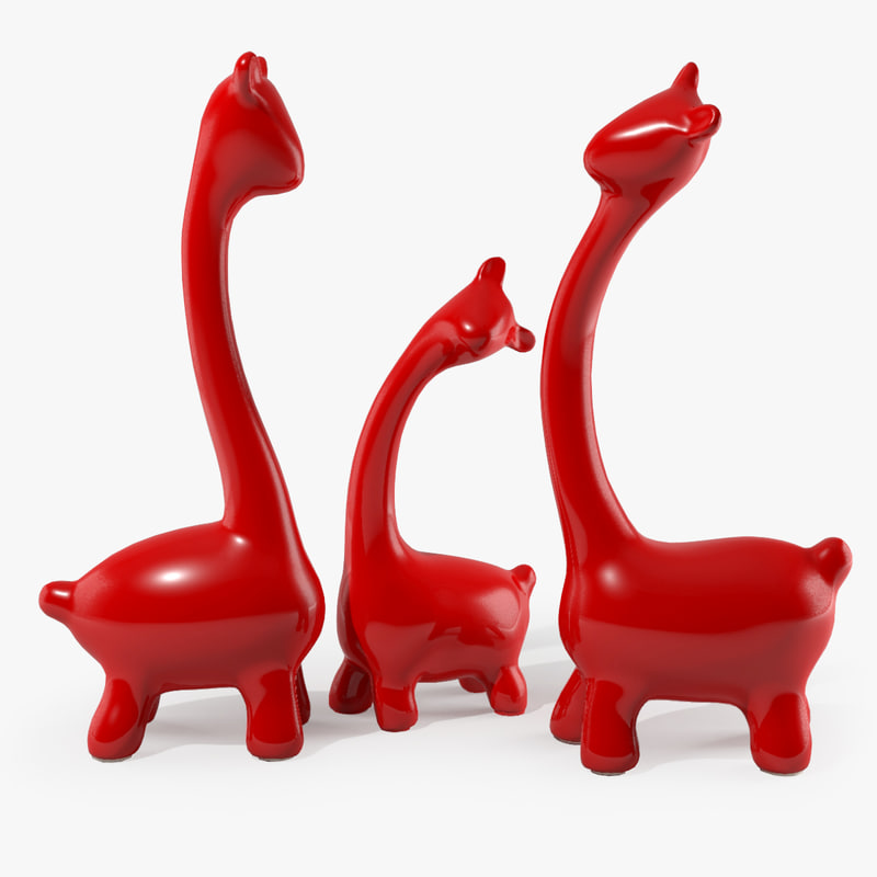 Abstract Porcelain Sculpture Giraffe Family - Home Decoration