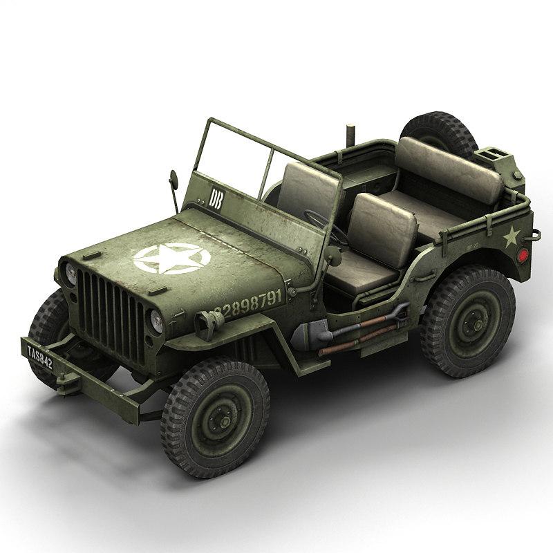 3d model willys jeep. Black Bedroom Furniture Sets. Home Design Ideas