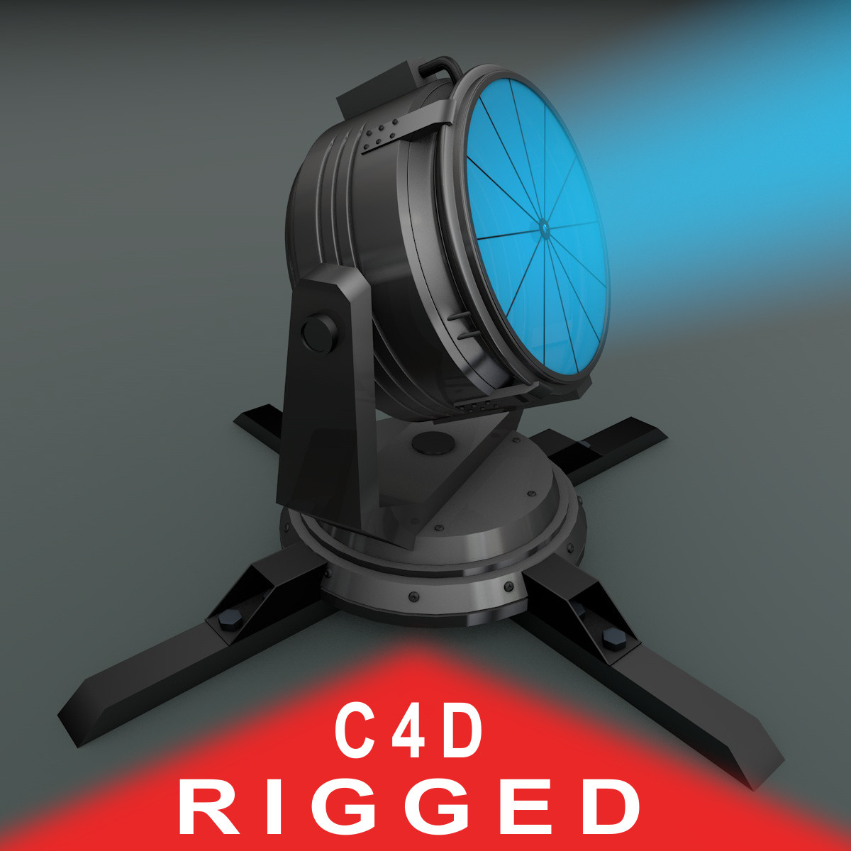 3d rigged searchlight light search model