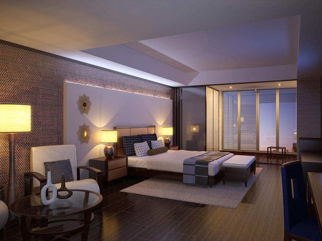 3d model interior scene modern hotel room for Vray interior scene