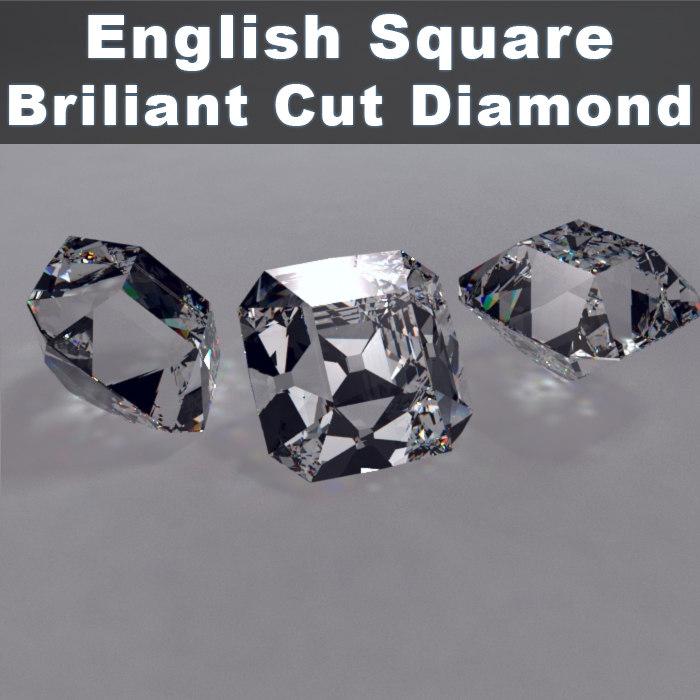 English Square Cut Brillinat Cut Diamond