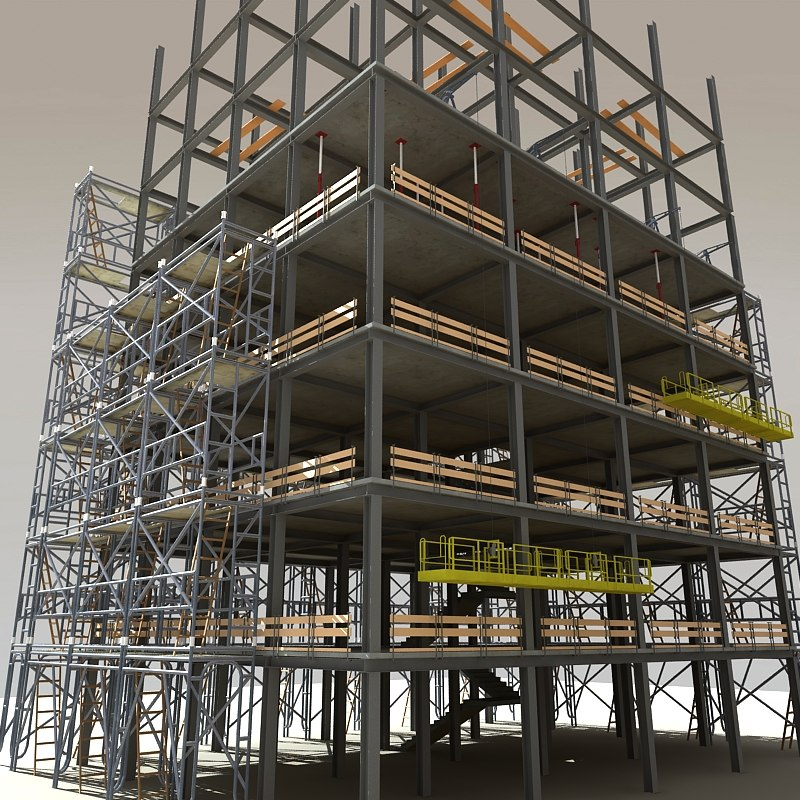 Modular steel construction scaffold 3d model 3d site