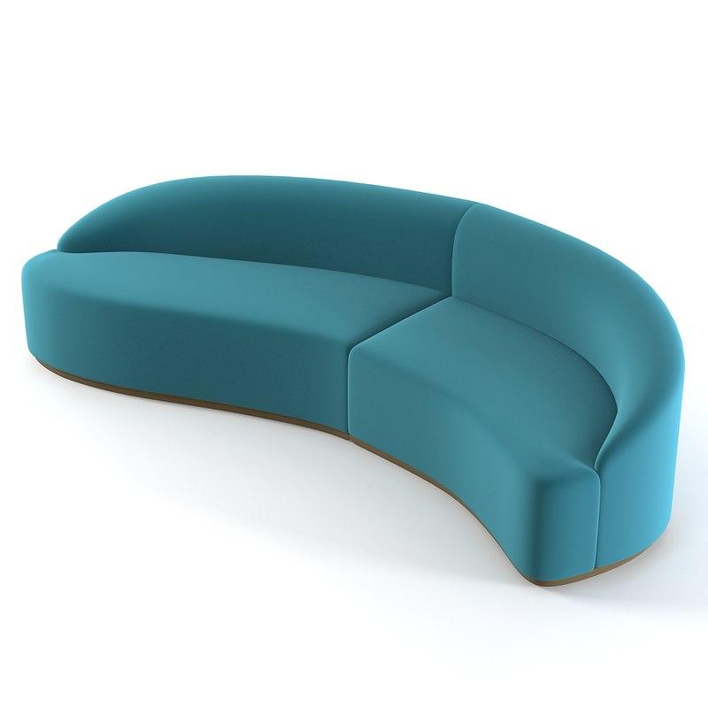 Elegant Models Of Contemporary Sofa Sofa Curved 3d Model