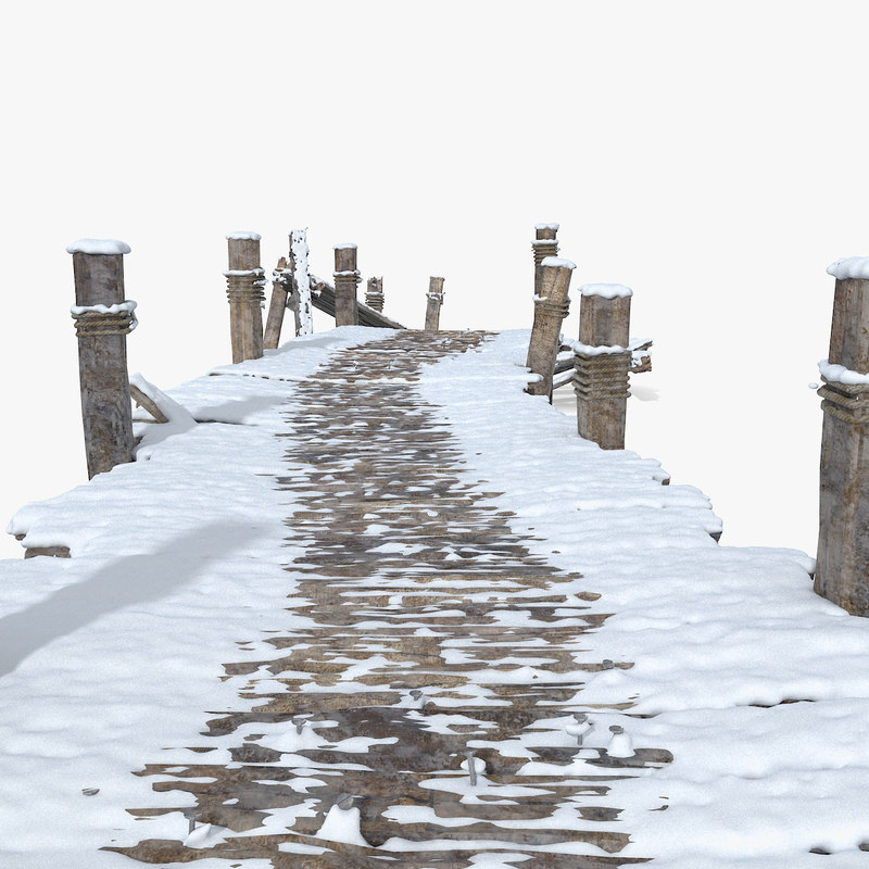 Wooden Snow Covered Pier